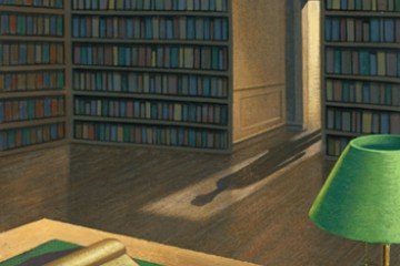 Illustration of books in a library