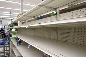 Barren shelves at a supermarket