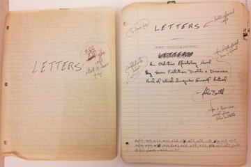 Corrected manuscript titled page for John Barth's novel 'LETTERS,' published in 1979
