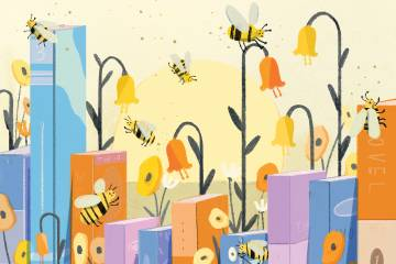 Illustration of bees and books