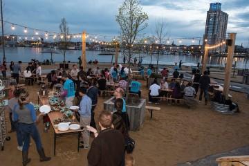 A celebration near the harbor