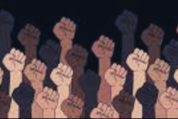 A group of fists raised in power, featuring a range of skin tones, especially black and brown