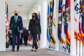 President Joe Biden and Vice President Kamala Harris wearing masks