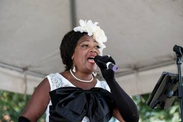 A singer performs at the inaugural Billie Holiday Jazz Festival