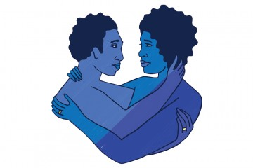 Illustration of couple embracing