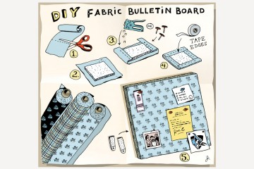 Illustration shows the steps of assembling a bulletin board covered in Blue Jay fabric