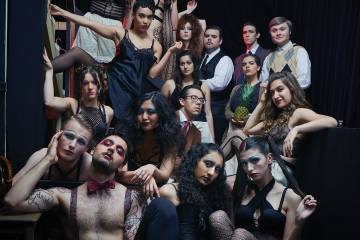 Group photo of actors in costume for Cabaret