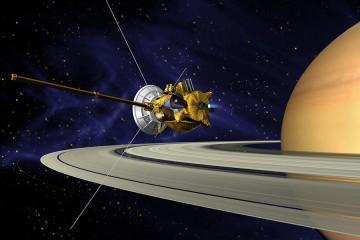Artist's rendering of the Cassini spacecraft as it orbits Saturn