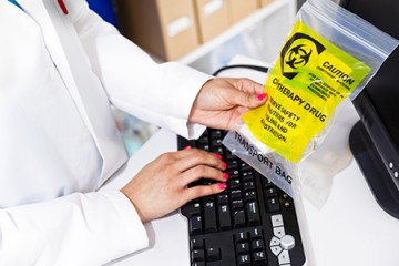 Yellow bag marked 'chemotherapy drug'