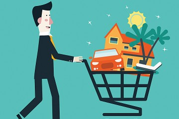 Illustration of a man pushing a shopping cart holding a car and house