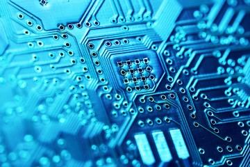 Blue-green circuit board closeuo