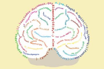 a string of computer code overlaid on top of a brain