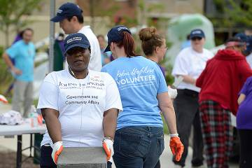 Volunteers wearing Johns Hopkins T-shirts