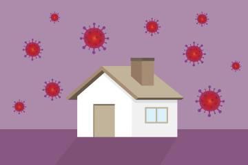 Illustration of house with coronavirus symbols in the sky