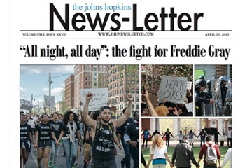 Front page of News-Letter includes coverage of Freddie Gray protests