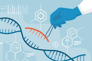 Illustration of scientists removing segments of a DNA double helix