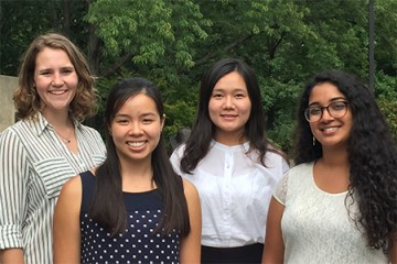 The Cryoablation team who competed at the Collegiate Inventors Competition (from left) Bailey Surtees, Sarah Lee, Yixin Clarisse Hu, and Serena Thomas.