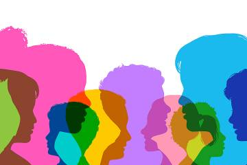 multicolored silhouettes of many children