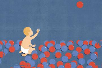 illustration of a baby looking up at a floating ball, while sitting among several red and blue balls