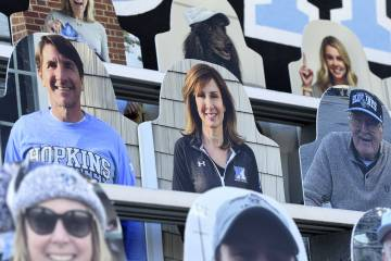 Cardboard cutouts of fans in stands