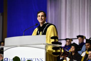 JHU President Ronald J. Daniels addresses the Class of 2019