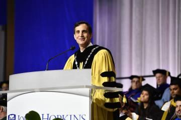 JHU President Ronald J. Daniels addresses the Class of 2019