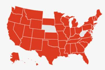U.S. map showing states that report COVID-19 deaths categorized by age