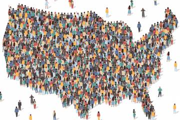 Illustration of a crowd of people in the shape of the contiguous U.S.