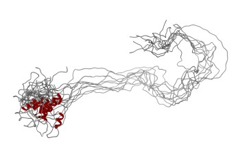 A long chain of crimped and tangled protein strands sprawls like a bundle of wires