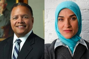 Robert Higgins (left) and Dalia Mogahed