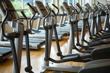 Ellipticals and treadmills in a gym