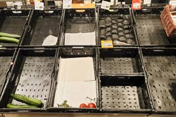 Empty grocery shelf
