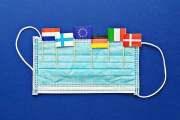 Flags of EU nations in a face mask