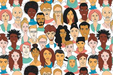 Drawing of faces with diverse skin color, haircuts, and attire