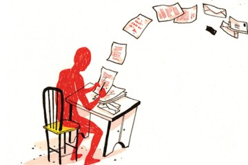 Illustration of a man writing letters