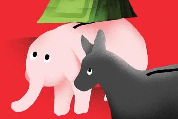 illustration of donkey and elephant piggy banks