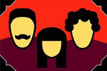 Silhouettes of three heads