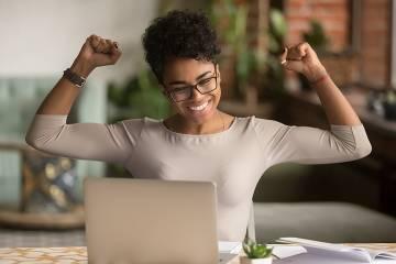 Happy-looking female employee