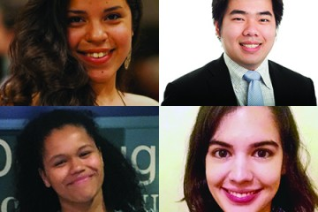 The four students awarded Gilman Scholarships are (clockwise from top left): Clara Molineros, Duy Phan, Rocio Oliva, and Madeleine Uraih