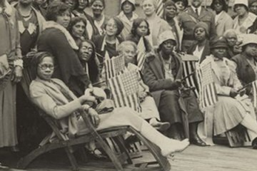 A crop image of a photo of African-American women aboard a ship in 1930