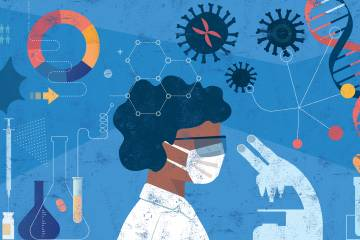 Illustration of a female scientist