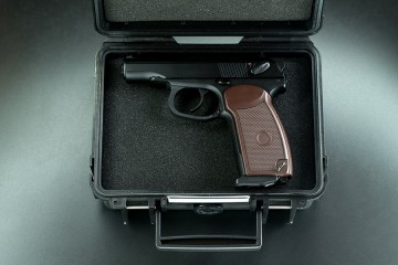 A handgun in a security case
