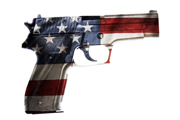 Handgun painted in colors of American flag