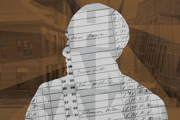 the silhouette of Johns Hopkins made out of historical census records