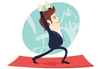 Humorous illustration of man in business attire doing exercises in an office