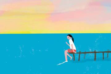 illustration of a girl sitting on a dock