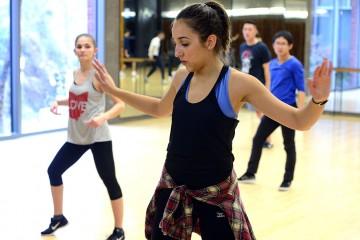 Hip-hop class instructor dancing