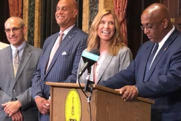 ohns Hopkins Hospital president Redonda Miller was one of several hospital leaders and city officials, including Baltimore City Mayor Jack Young (right), who spoke at a July 2 press conference to announce the collaboration.