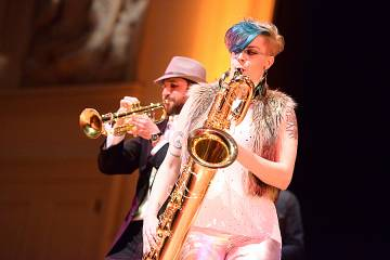Saxophonist Jessica Keyes, performing in 2017