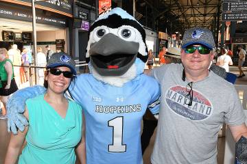 Leticia Lewis and Jeremy Lewis with the JHU Blue Jay
